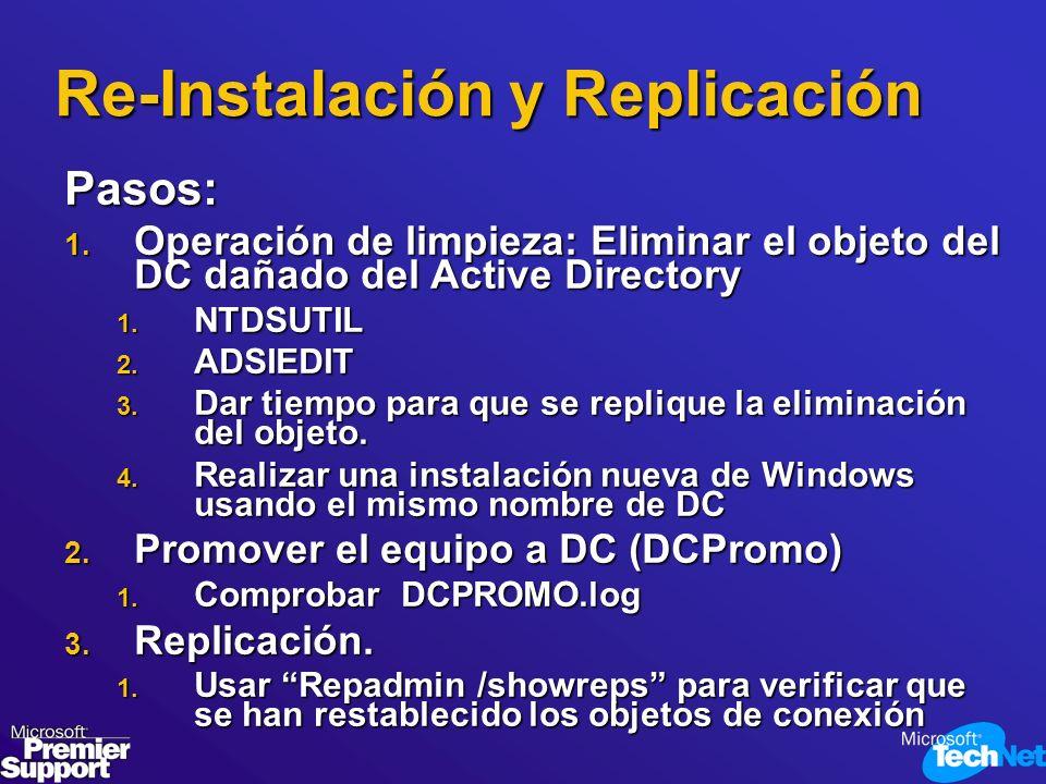 Re-Instalación y Replicación Pasos: 1. Operación de limpieza: Eliminar el objeto del DC dañado del Active Directory 1. NTDSUTIL 2. ADSIEDIT 3. Dar tie