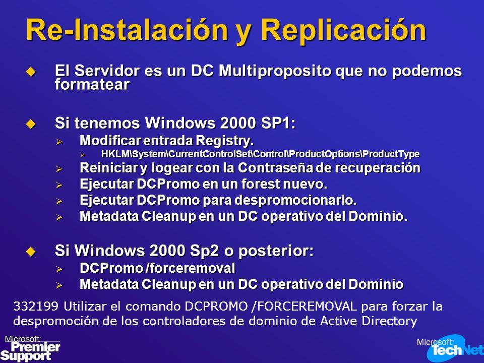Re-Instalación y Replicación El Servidor es un DC Multiproposito que no podemos formatear El Servidor es un DC Multiproposito que no podemos formatear