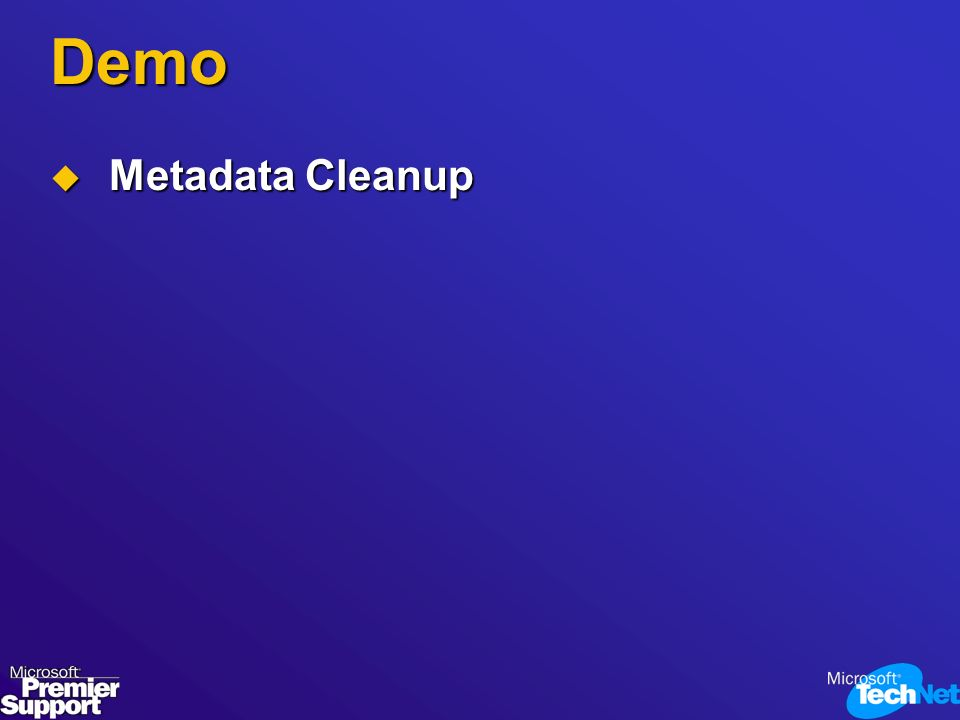 Demo Metadata Cleanup Metadata Cleanup