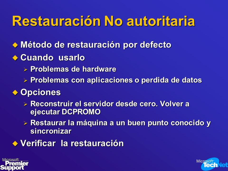 Restauración No autoritaria Método de restauración por defecto Método de restauración por defecto Cuando usarlo Cuando usarlo Problemas de hardware Pr