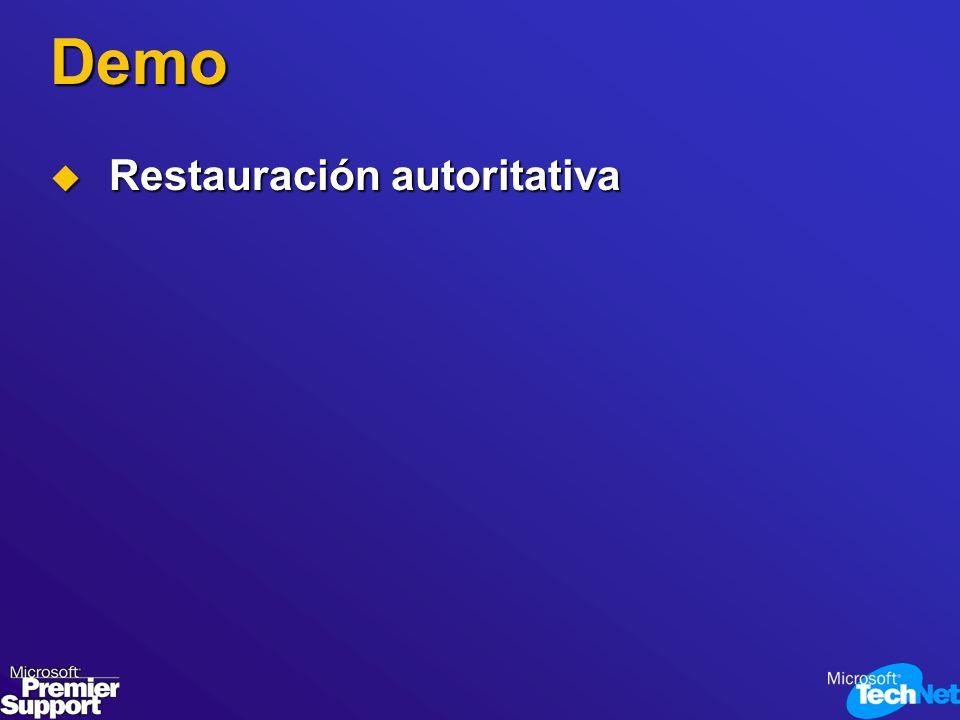 Demo Restauración autoritativa Restauración autoritativa