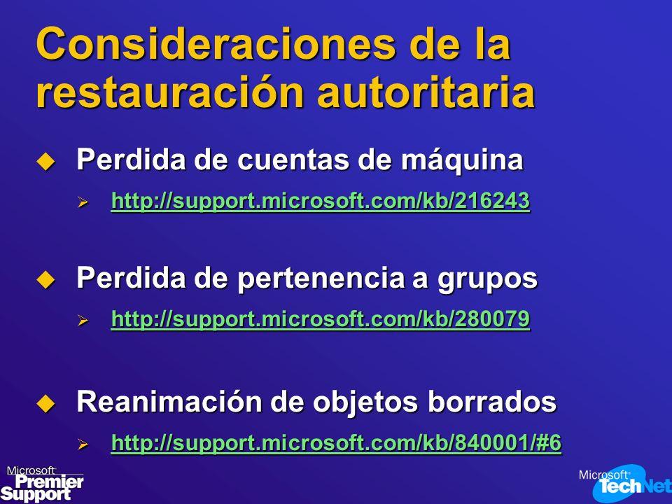 Consideraciones de la restauración autoritaria Perdida de cuentas de máquina Perdida de cuentas de máquina http://support.microsoft.com/kb/216243 http