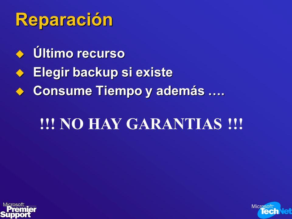 Reparación Último recurso Último recurso Elegir backup si existe Elegir backup si existe Consume Tiempo y además …. Consume Tiempo y además …. !!! NO