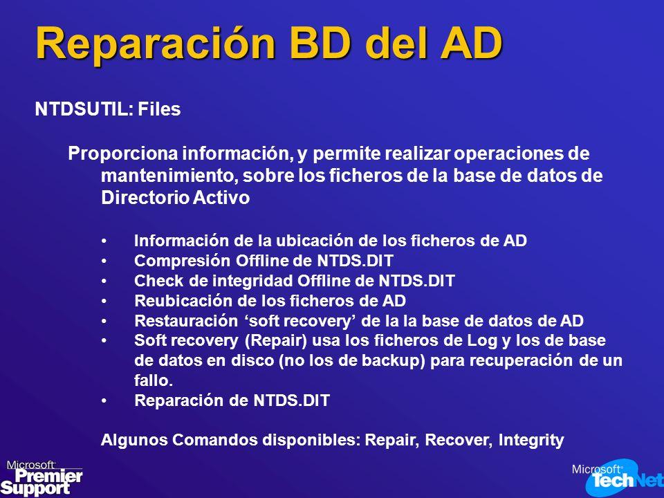 Reparación BD del AD NTDSUTIL: Files Proporciona información, y permite realizar operaciones de mantenimiento, sobre los ficheros de la base de datos