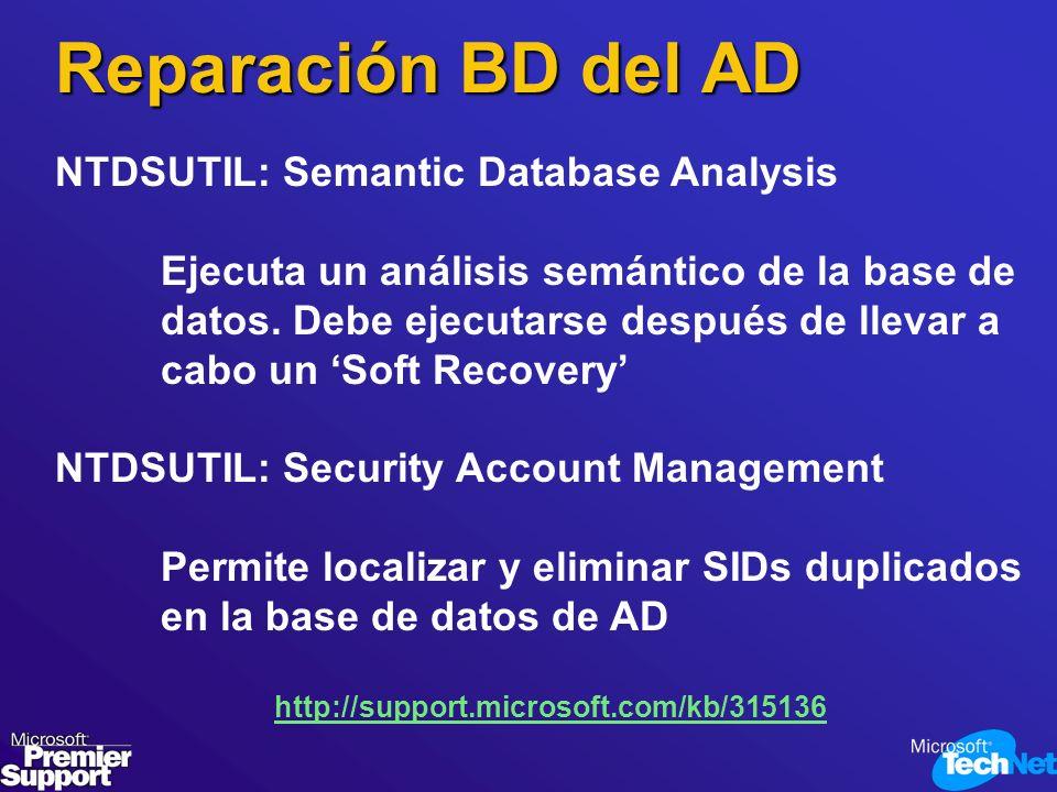 Reparación BD del AD NTDSUTIL: Semantic Database Analysis Ejecuta un análisis semántico de la base de datos. Debe ejecutarse después de llevar a cabo