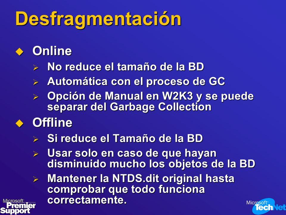 Desfragmentación Online Online No reduce el tamaño de la BD No reduce el tamaño de la BD Automática con el proceso de GC Automática con el proceso de
