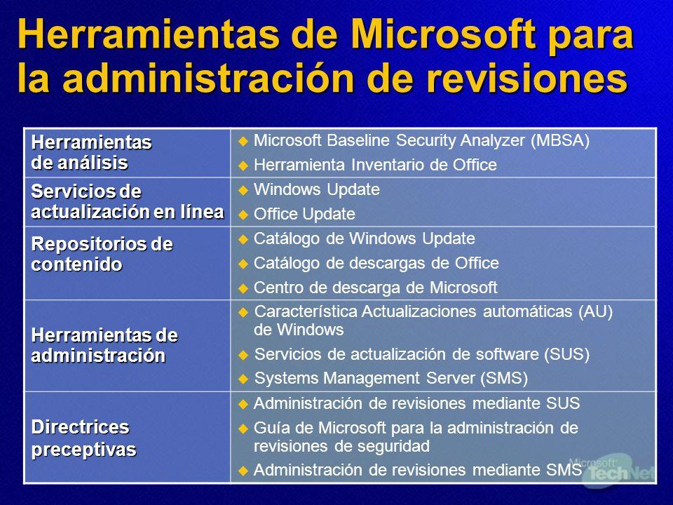 Herramientas de Microsoft para la administración de revisiones Herramientas de análisis Microsoft Baseline Security Analyzer (MBSA) Herramienta Invent