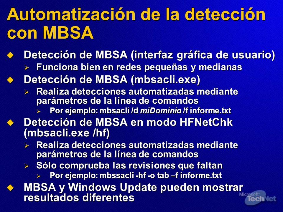 Automatización de la detección con MBSA Detección de MBSA (interfaz gráfica de usuario) Detección de MBSA (interfaz gráfica de usuario) Funciona bien