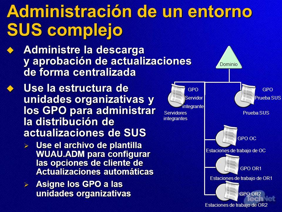 Administración de un entorno SUS complejo Administre la descarga y aprobación de actualizaciones de forma centralizada Administre la descarga y aproba