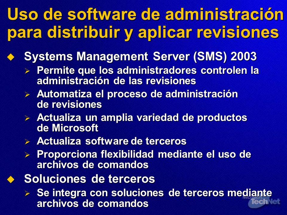 Uso de software de administración para distribuir y aplicar revisiones Systems Management Server (SMS) 2003 Systems Management Server (SMS) 2003 Permi