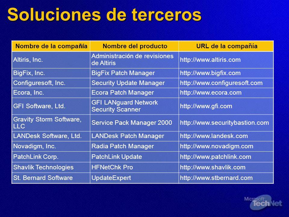 Soluciones de terceros Nombre de la compa ñí a Nombre del productoURL de la compañía Altiris, Inc. Administraci ó n de revisiones de Altiris http://ww