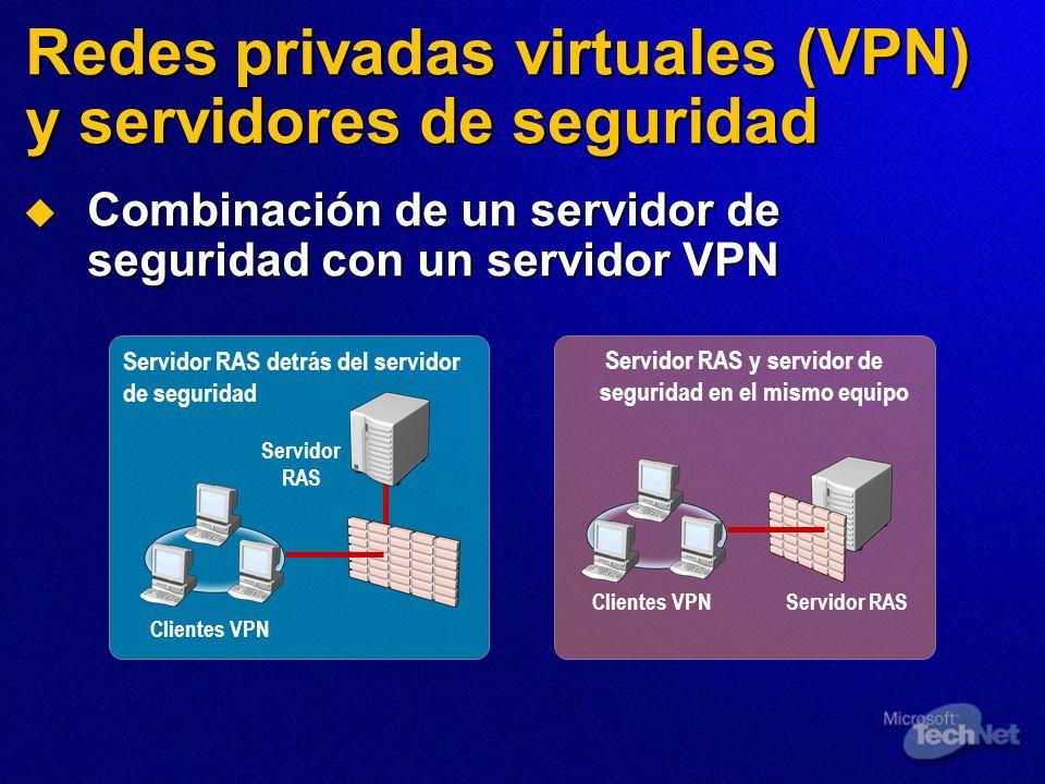 Redes privadas virtuales (VPN) y servidores de seguridad Combinación de un servidor de seguridad con un servidor VPN Combinación de un servidor de seg