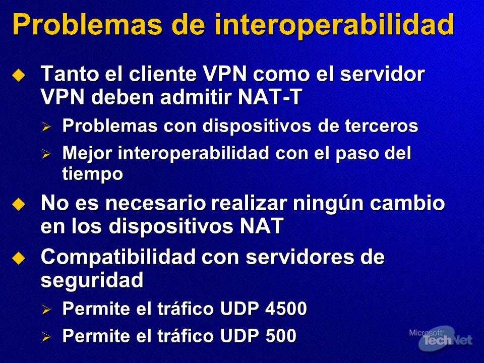 Problemas de interoperabilidad Tanto el cliente VPN como el servidor VPN deben admitir NAT-T Tanto el cliente VPN como el servidor VPN deben admitir N