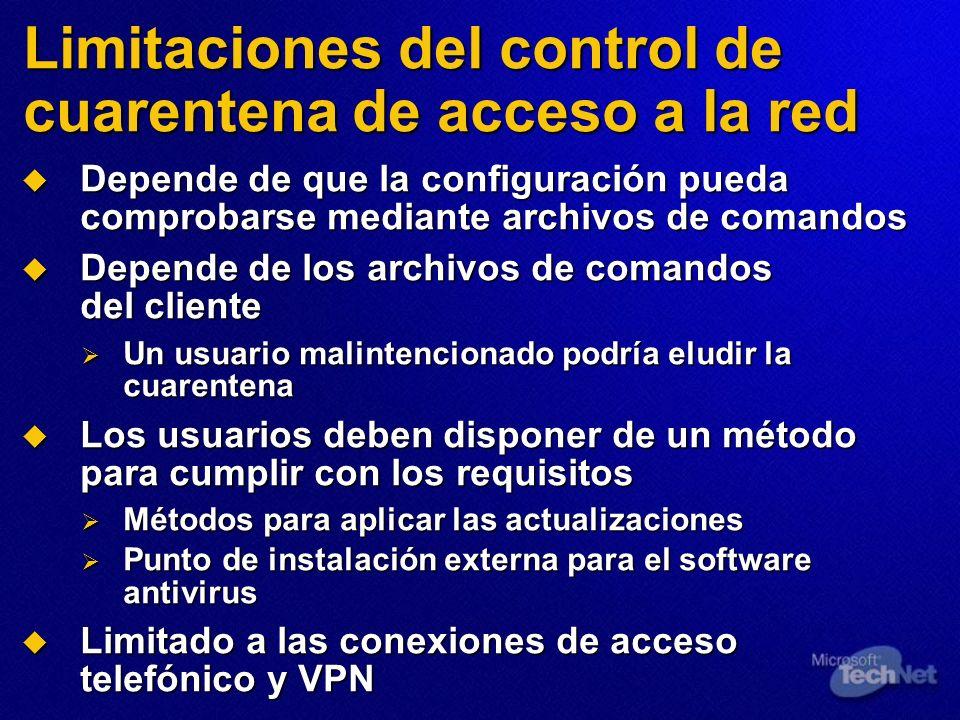Limitaciones del control de cuarentena de acceso a la red Depende de que la configuración pueda comprobarse mediante archivos de comandos Depende de q