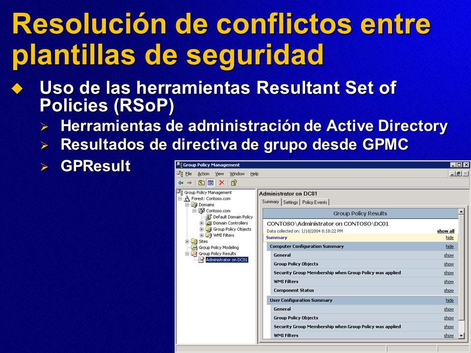 Resolución de conflictos entre plantillas de seguridad Uso de las herramientas Resultant Set of Policies (RSoP) Uso de las herramientas Resultant Set