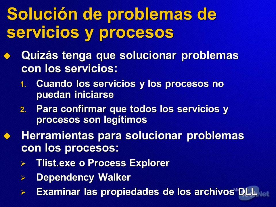 Solución de problemas de servicios y procesos Quizás tenga que solucionar problemas con los servicios : Quizás tenga que solucionar problemas con los
