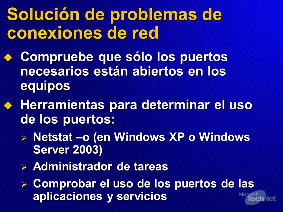 Solución de problemas de conexiones de red Compruebe que sólo los puertos necesarios están abiertos en los equipos Compruebe que sólo los puertos nece