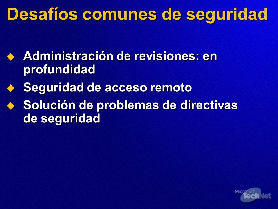 Desafíos comunes de seguridad Administración de revisiones: en profundidad Administración de revisiones: en profundidad Seguridad de acceso remoto Seg