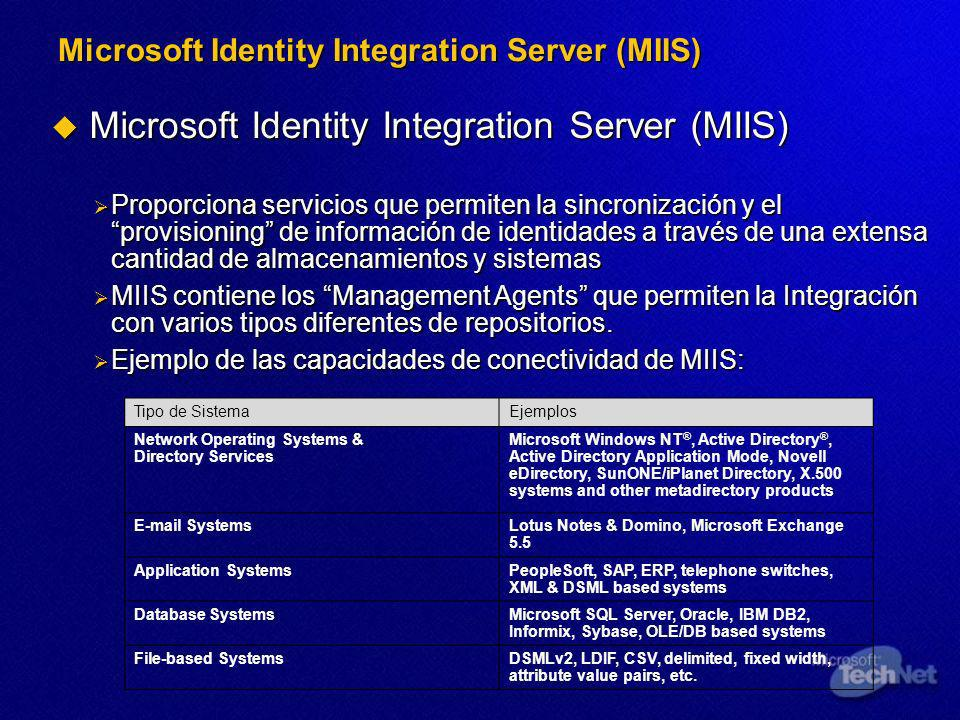 Microsoft Identity Integration Server (MIIS) Microsoft Identity Integration Server (MIIS) Microsoft Identity Integration Server (MIIS) Proporciona ser