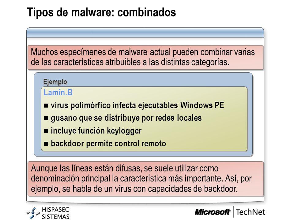 Tipos de malware: combinados Muchos especímenes de malware actual pueden combinar varias de las características atribuibles a las distintas categorías