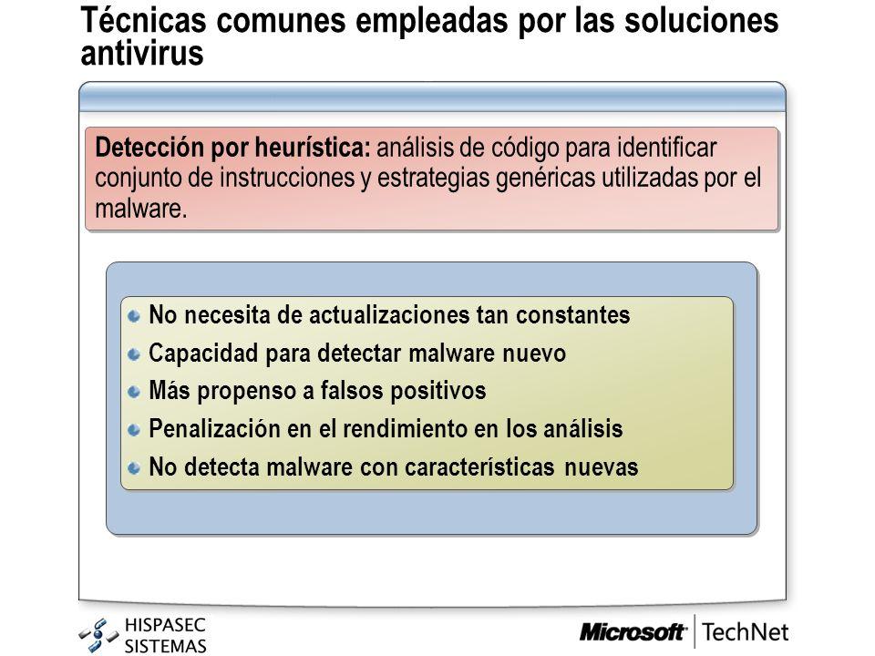 Técnicas comunes empleadas por las soluciones antivirus Detección por heurística: análisis de código para identificar conjunto de instrucciones y estr
