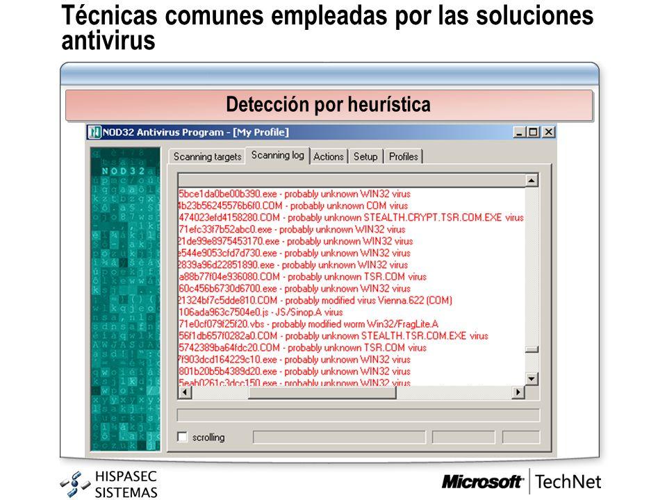Técnicas comunes empleadas por las soluciones antivirus Detección por heurística