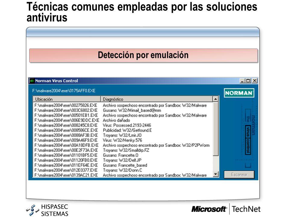 Técnicas comunes empleadas por las soluciones antivirus Detección por emulación
