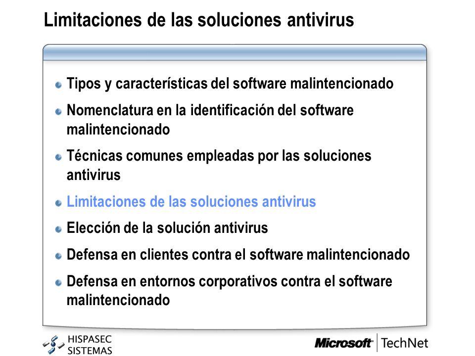 Limitaciones de las soluciones antivirus Tipos y características del software malintencionado Nomenclatura en la identificación del software malintenc