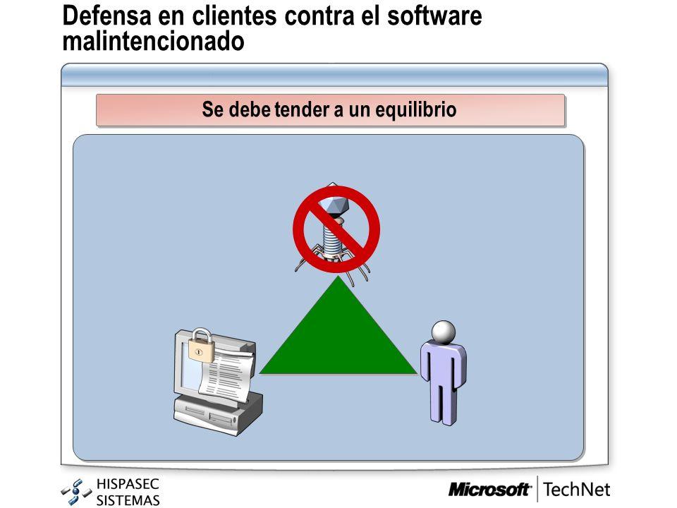 Defensa en clientes contra el software malintencionado Se debe tender a un equilibrio