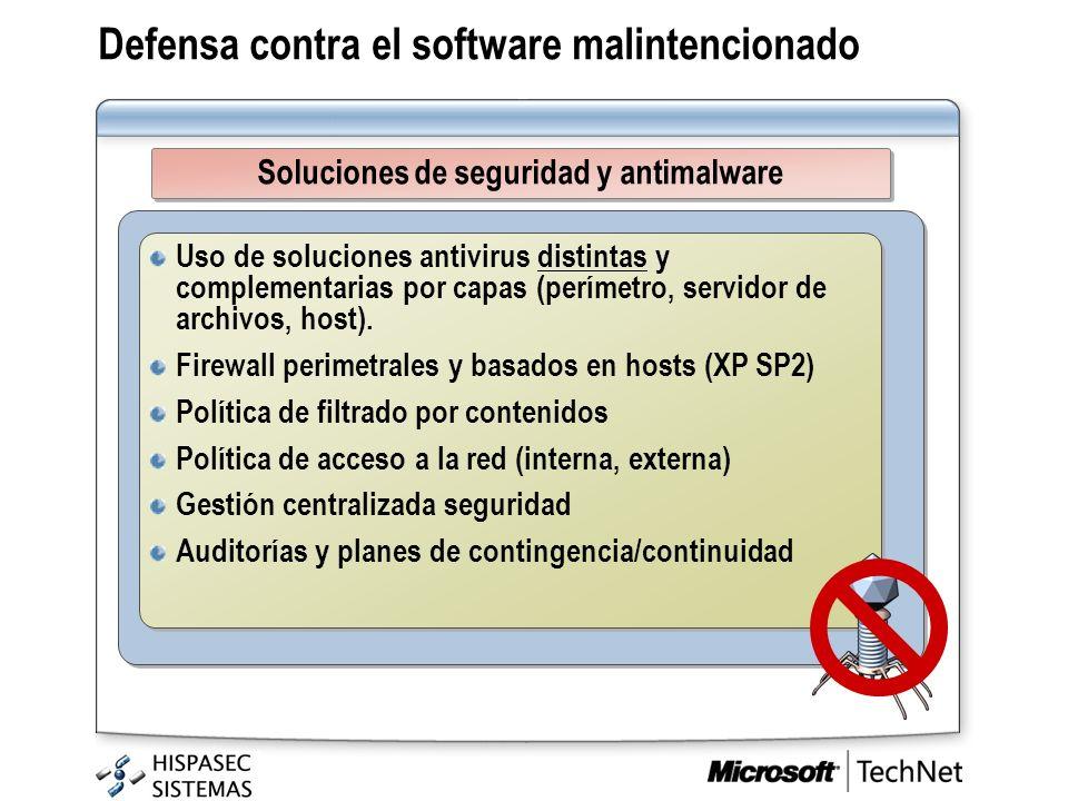 Uso de soluciones antivirus distintas y complementarias por capas (perímetro, servidor de archivos, host). Firewall perimetrales y basados en hosts (X