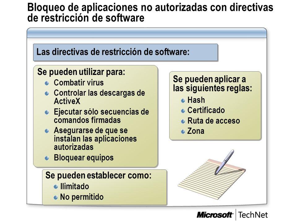 Bloqueo de aplicaciones no autorizadas con directivas de restricción de software Las directivas de restricción de software: Se pueden establecer como: