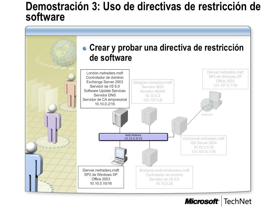 Demostración 3: Uso de directivas de restricción de software Crear y probar una directiva de restricción de software