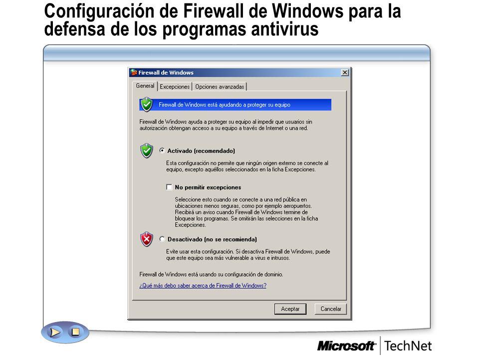 Configuración de Firewall de Windows para la defensa de los programas antivirus