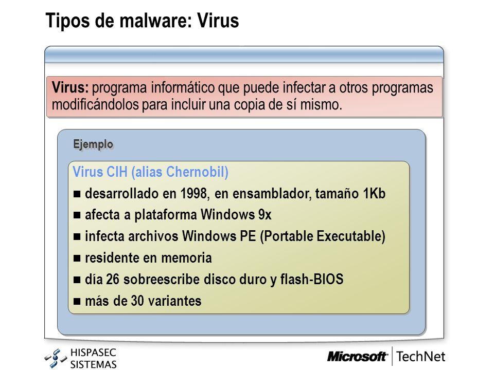 Tipos de malware: Virus Virus: programa informático que puede infectar a otros programas modificándolos para incluir una copia de sí mismo. Virus CIH