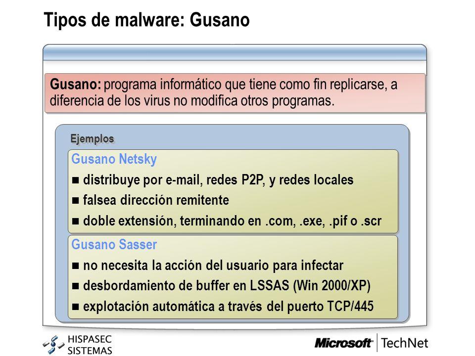 Tipos de malware: Gusano Gusano: programa informático que tiene como fin replicarse, a diferencia de los virus no modifica otros programas. Ejemplos G