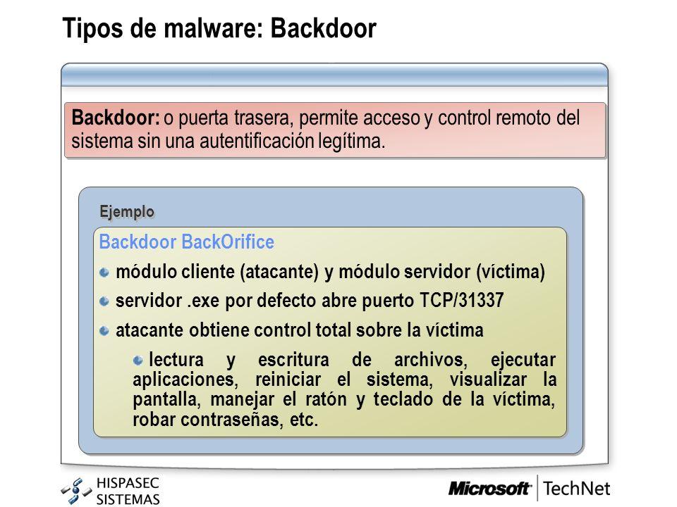 Tipos de malware: Backdoor Backdoor: o puerta trasera, permite acceso y control remoto del sistema sin una autentificación legítima. Ejemplo Backdoor