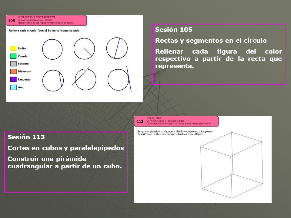 Sesión 105 Rectas y segmentos en el círculo Rellenar cada figura del color respectivo a partir de la recta que representa. Sesión 113 Cortes en cubos