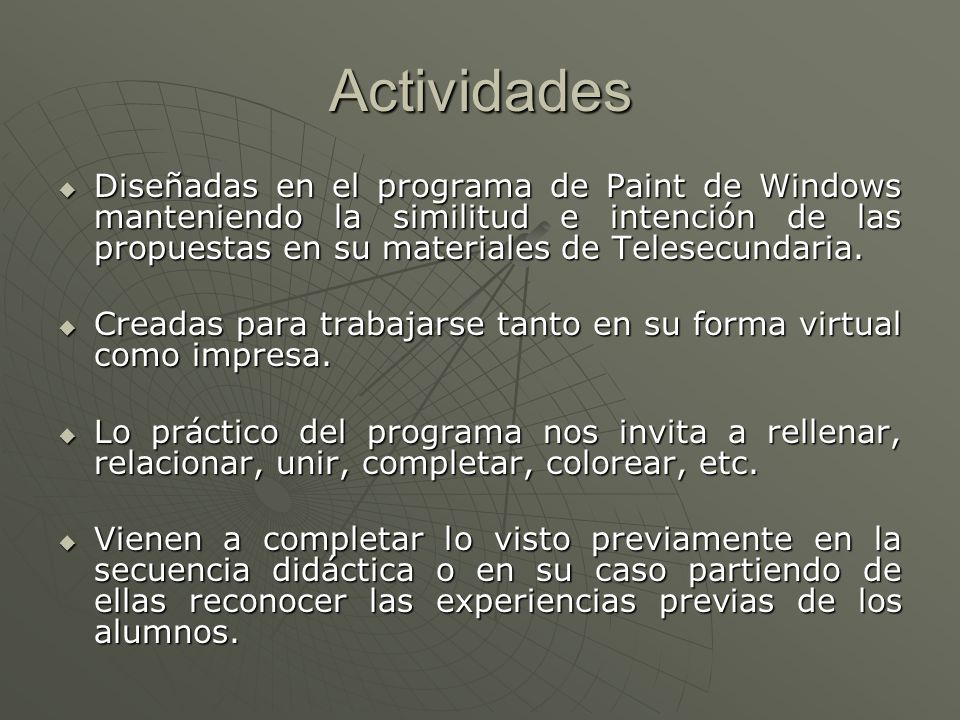 Actividades Diseñadas en el programa de Paint de Windows manteniendo la similitud e intención de las propuestas en su materiales de Telesecundaria. Di