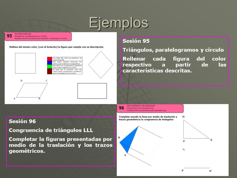 Ejemplos Sesión 95 Triángulos, paralelogramos y círculo Rellenar cada figura del color respectivo a partir de las características descritas. Sesión 96
