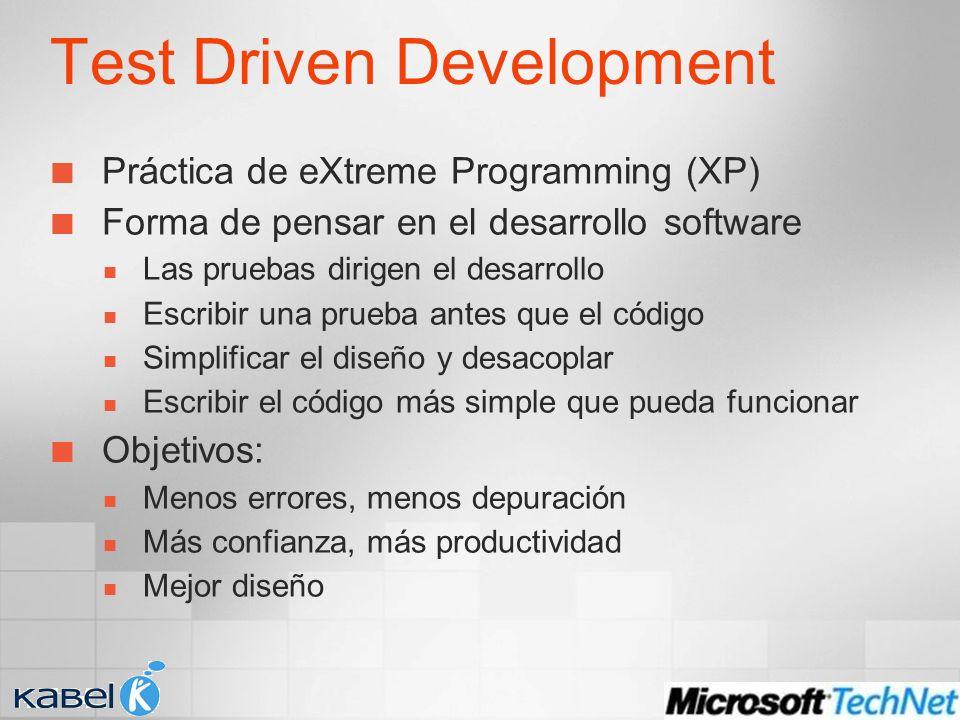 Test Driven Development Práctica de eXtreme Programming (XP) Forma de pensar en el desarrollo software Las pruebas dirigen el desarrollo Escribir una prueba antes que el código Simplificar el diseño y desacoplar Escribir el código más simple que pueda funcionar Objetivos: Menos errores, menos depuración Más confianza, más productividad Mejor diseño