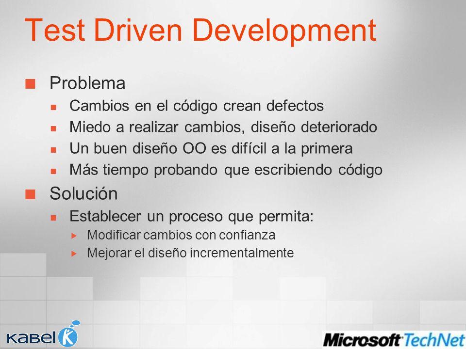 Test Driven Development Problema Cambios en el código crean defectos Miedo a realizar cambios, diseño deteriorado Un buen diseño OO es difícil a la primera Más tiempo probando que escribiendo código Solución Establecer un proceso que permita: Modificar cambios con confianza Mejorar el diseño incrementalmente
