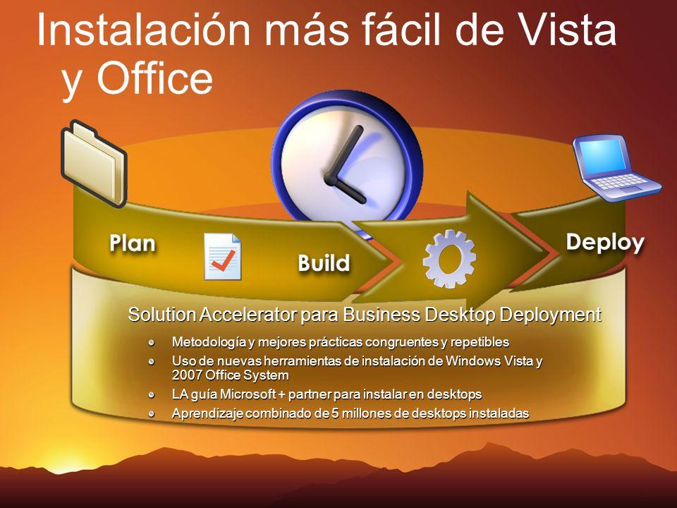 Instalación más fácil de Vista y Office Solution Accelerator para Business Desktop Deployment Metodología y mejores prácticas congruentes y repetibles Uso de nuevas herramientas de instalación de Windows Vista y 2007 Office System LA guía Microsoft + partner para instalar en desktops Aprendizaje combinado de 5 millones de desktops instaladas