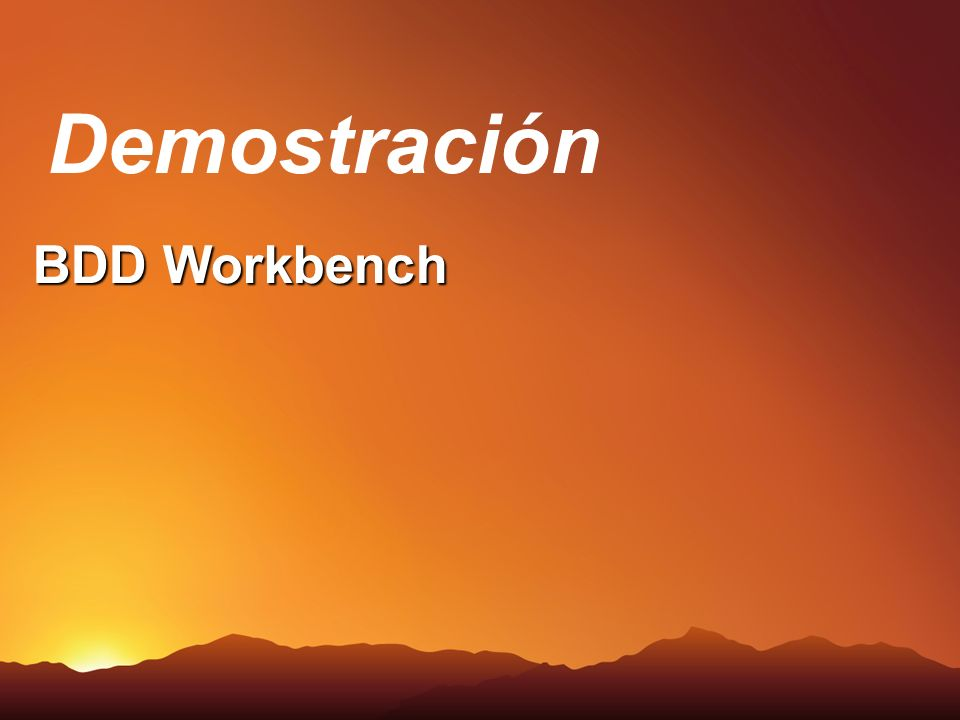 BDD Workbench Demostración