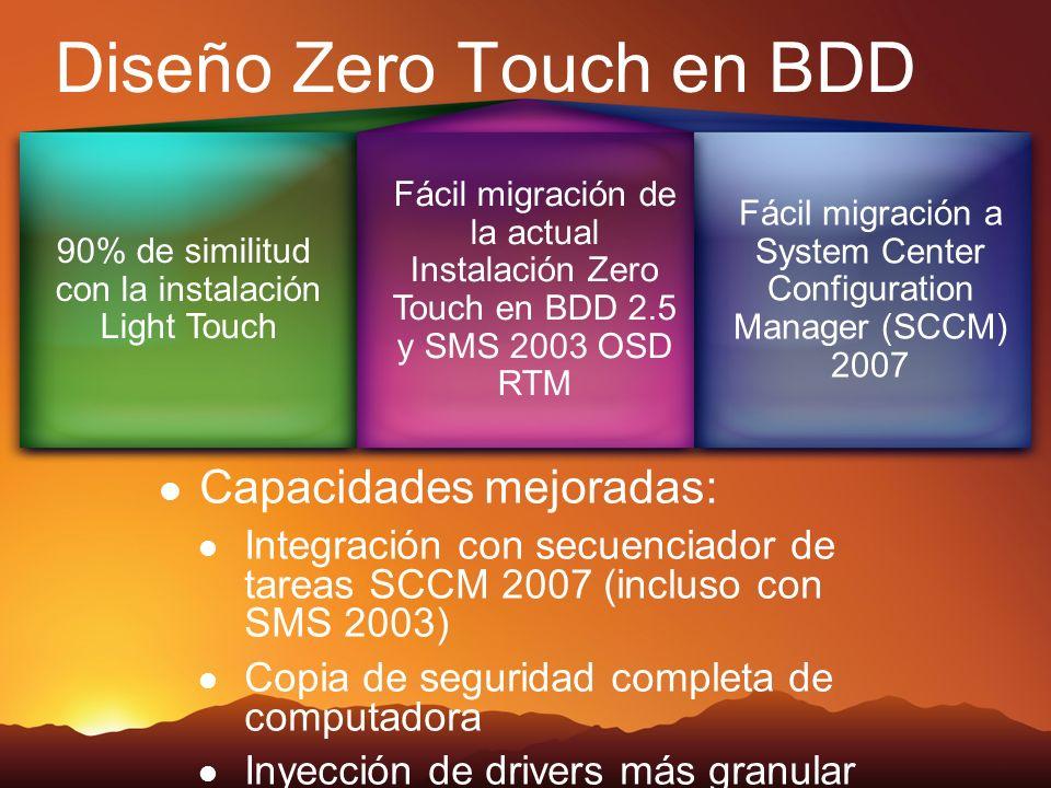 Diseño Zero Touch en BDD Capacidades mejoradas: Integración con secuenciador de tareas SCCM 2007 (incluso con SMS 2003) Copia de seguridad completa de computadora Inyección de drivers más granular 90% de similitud con la instalación Light Touch Fácil migración de la actual Instalación Zero Touch en BDD 2.5 y SMS 2003 OSD RTM Fácil migración a System Center Configuration Manager (SCCM) 2007