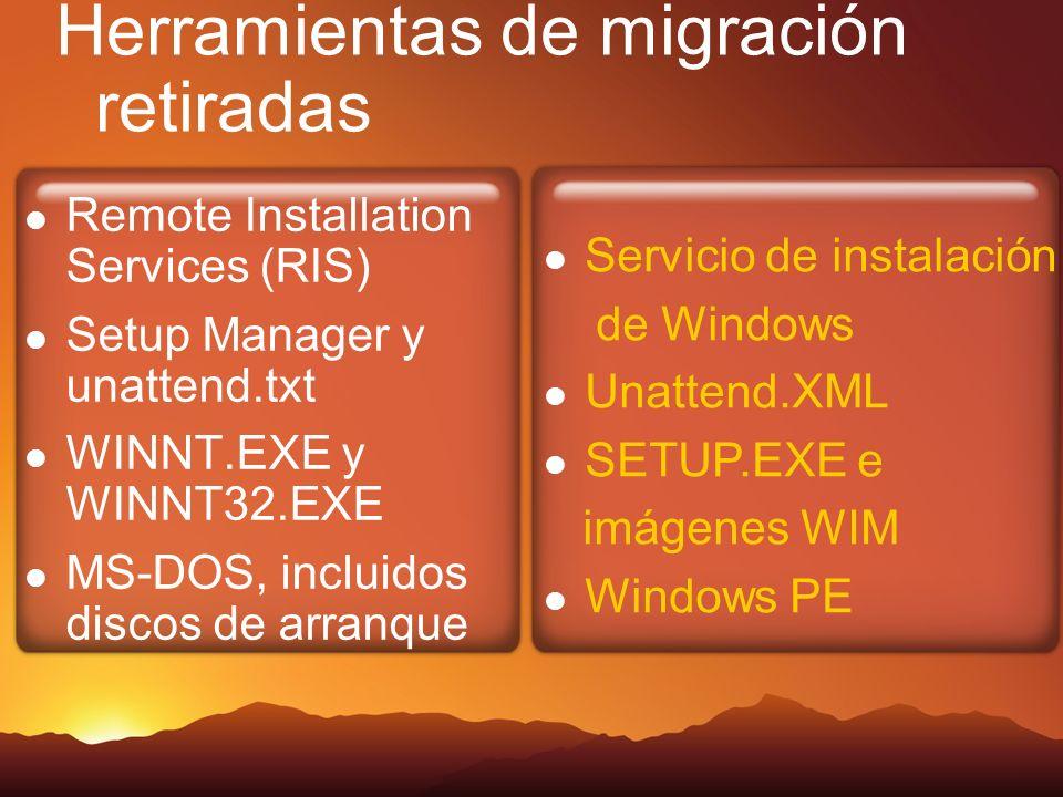 Herramientas de migración retiradas Remote Installation Services (RIS) Setup Manager y unattend.txt WINNT.EXE y WINNT32.EXE MS-DOS, incluidos discos de arranque Servicio de instalación de Windows Unattend.XML SETUP.EXE e imágenes WIM Windows PE