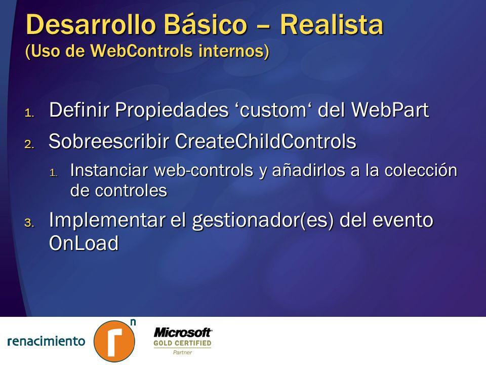Desarrollo Básico – Realista (Uso de WebControls internos) 1. Definir Propiedades custom del WebPart 2. Sobreescribir CreateChildControls 1. Instancia