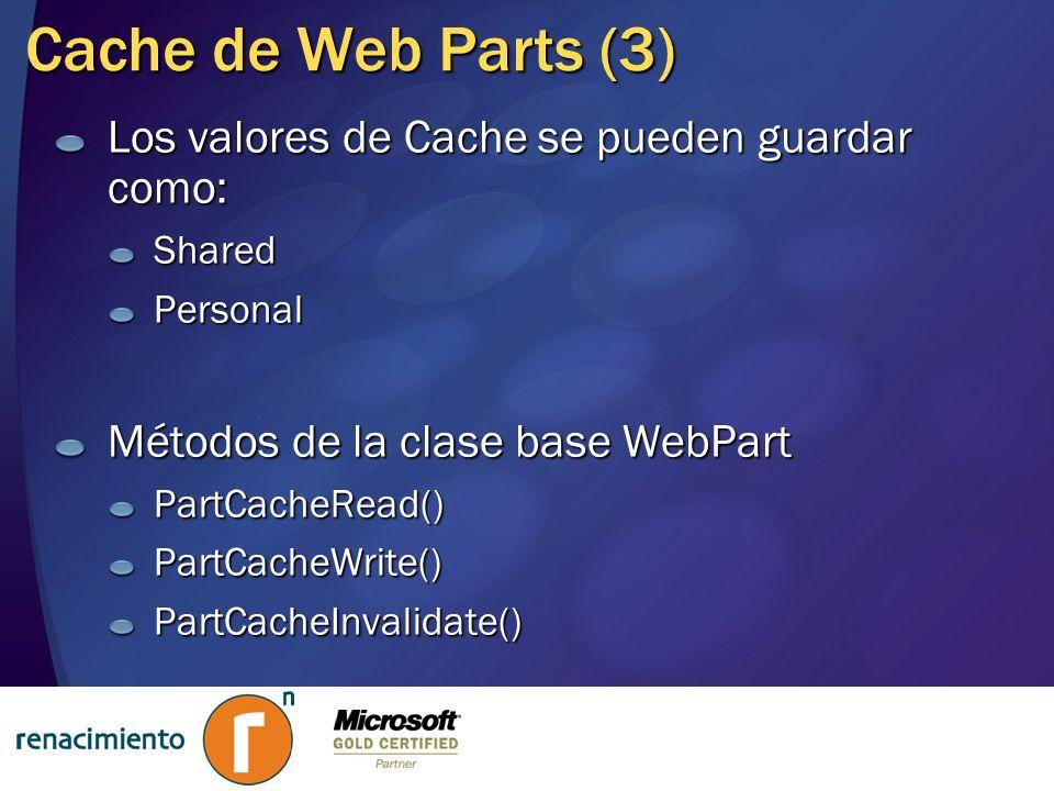 Cache de Web Parts (3) Los valores de Cache se pueden guardar como: SharedPersonal Métodos de la clase base WebPart PartCacheRead()PartCacheWrite()Par