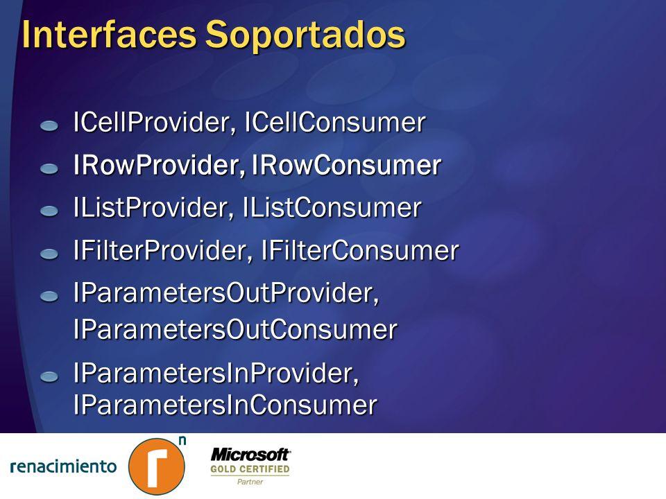 Interfaces Soportados ICellProvider, ICellConsumer IRowProvider, IRowConsumer IListProvider, IListConsumer IFilterProvider, IFilterConsumer IParameter
