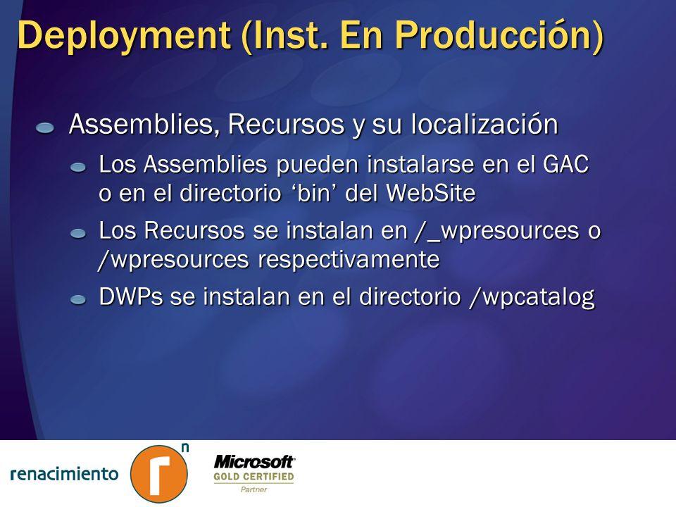 Deployment (Inst. En Producción) Assemblies, Recursos y su localización Los Assemblies pueden instalarse en el GAC o en el directorio bin del WebSite