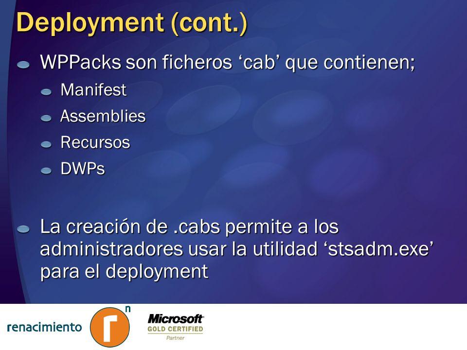 Deployment (cont.) WPPacks son ficheros cab que contienen; ManifestAssembliesRecursosDWPs La creación de.cabs permite a los administradores usar la ut